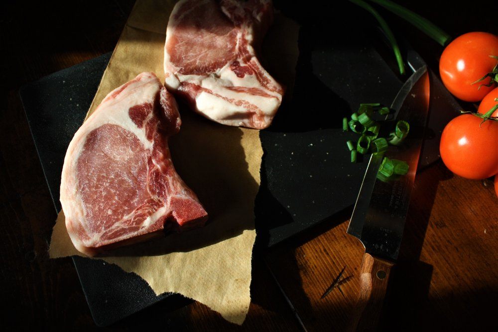 R Family Farms Berkshire Chops Marbled to Perfection