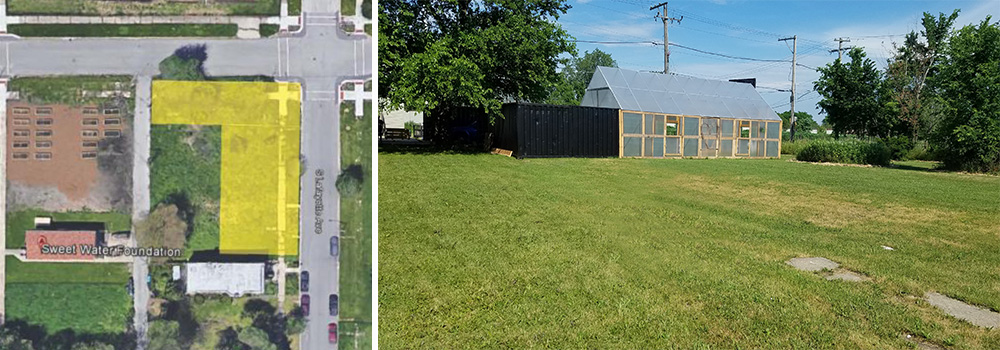 Google Map image (left) and picture (right) of the vacant lots that students in the Re[CREATE]Ed Spaces Program redesigned into a Pocket Park.