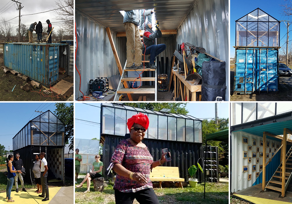 Devontae and the SWF team transform a used shipping container (top row) into a one-of-a-kind learning laboratory, greenhouse and gallery (bottom row).