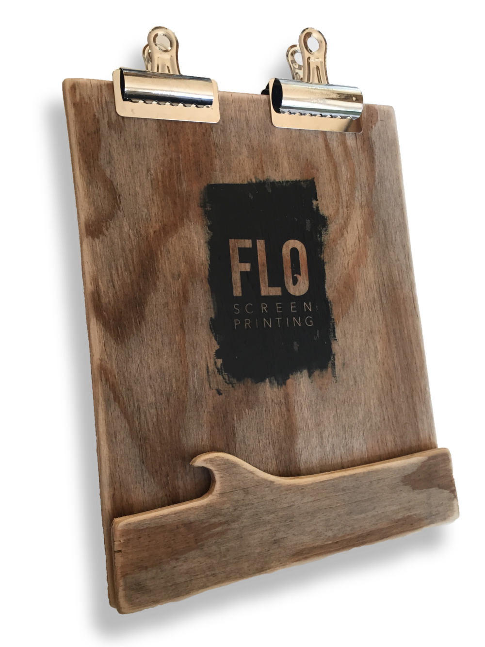 Hand made wood clip board for Flo Screen Printing