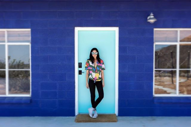 Shades of blue at #StarshipLuna's front door. 👽🛸🌵✨ . . 👩🏻: @carmendelvalle . 📸: @gabevega . . #starshiplanding #starshipluna #airbnb#airbnbphoto @airbnb #vacationrental #airbnbvacationrental #joshuatree #yuccavalley #pioneertown #landers#rimrock #pipescanyon #wondervalley#flamingoheights #aliens #realestate #vacation #highdesert #livingroom #livingroomvibes #design #california #travel #travelgram #👽 🔑 #managedby @thecohostcompany