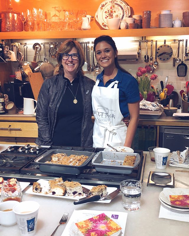 I had such a blast this morning at @kitchencollagedsm ! I had the opportunity to teach and share my Grandma's favorite coffee cake recipe! It was so fun to see daughters and mothers come together for this special event. Happy Mother's Day weekend to all of the beautiful mothers and grandmothers out there! 💗👭 . . . . #mothersday #sweetsaturday #coffee #blueberrycoffeecake #cookingclass #momsarethebest #makingmemories #funtimes #coffeetalk #memoriesinthebaking #sweetstories