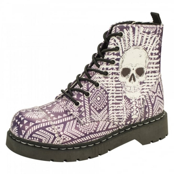 T.U.K. Shoes Vegan Anarchic 7 Eye Boot Aztec W/ Skull Print £85