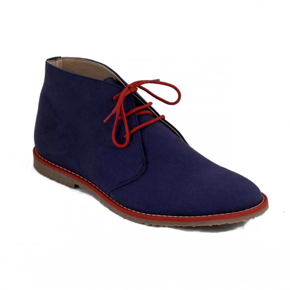 Nae Men Lagos Blue £106 - Desert boots are having a huge come back and this season many styles come in fabulously vibrant colours. We love the contrasting hue of the red laces against the blue here, but if you prefer your shoe to be a little more conservative, these beauties come also in grey, brown and black Piñatex.