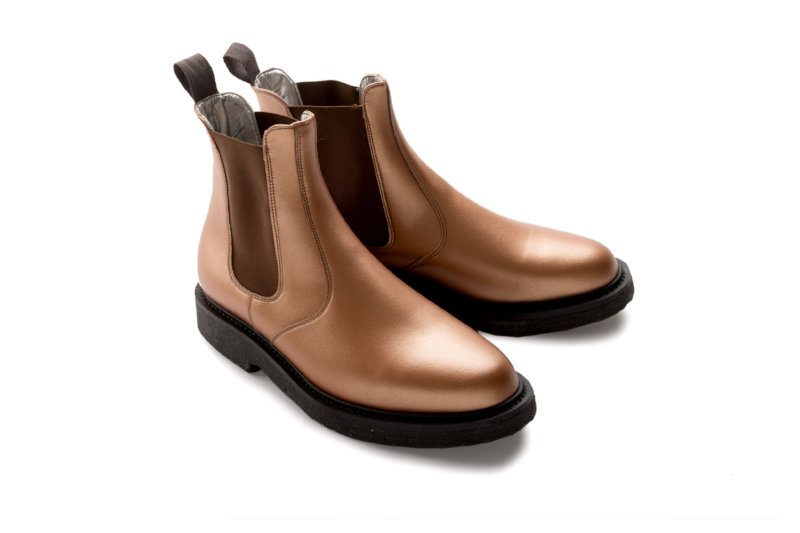 Friendship Shoes Kinsey Dealer Boot £175 - A twist on the classic Chelsea boot, using smooth grain Italian vegan leather and featuring a metallic elastic and Friendship Shoes' welted crepe soles. These boots will get you noticed.