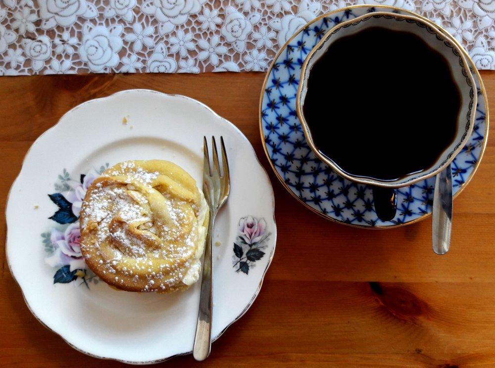 Vegan Viennese Swirl and coffee