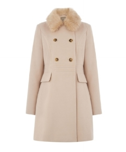 Oasis Double Breasted Princess Coat £95 - Made with elastane, polyester, viscose, faux fur pile and acrylic, this is an elegant coat that works well on a fancy night out or to jazz up a simple, casual outfit