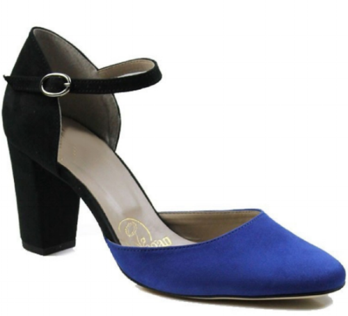 Will's Vegan Shoes Black and Blue Block Heel £78 -