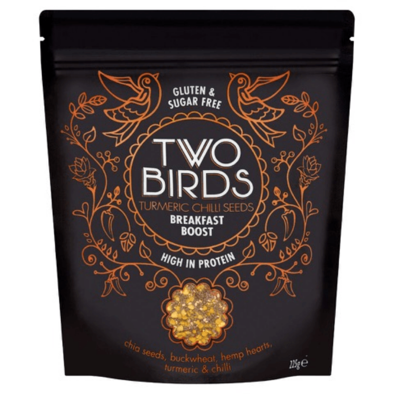Two Birds Breakfast Boost - If you are giving Veganuary a go and are rather reliant on eggs as part of your breakfast routine this high protein seed mix is the perfect alternative. Just two tablespoons is equal to an egg in protein with none of the cholesterol or cruelty. Try sprinkling the Tumeric and Chilli flavour over avocado on toast for a totally delicious superfood start to your day.