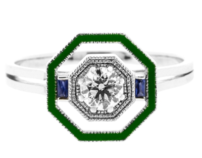 Lila's Deco Octagon Josephine Ring - With white gold, recycled diamond, enamel and sapphires. £2650