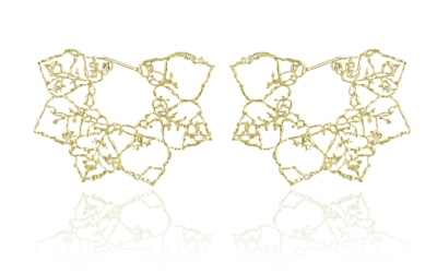 Natalie Perry, Floral Fragments, Lace Flower Earrings - Made with 18ct fairtrade gold and diamonds.  £2,885