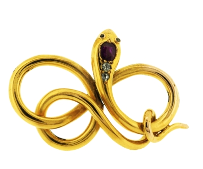 Lila's Victorian Coiled Snake Pendant - 18ct gold, this Victorian pendant was made in the 1870s and features a cushion cut ruby and rose cut diamonds. £1620