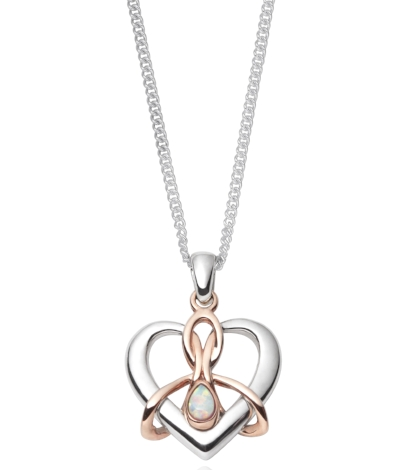 Clogau Dwynwen Opal Pendant - Welsh rose gold and silver pendant with opal and silver chain. £139