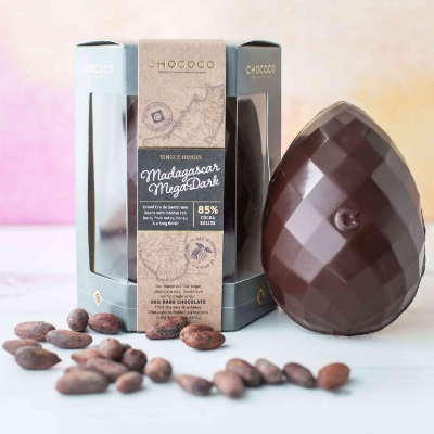 For the Connoisseur: Chococo Madagascar Mega Dark - This single origin low sugar faceted dark chocolate egg is a thing of great beauty. Made in small batches by a husband and wife team in Dorset this egg is all about showcasing the singular flavours of this Madagascan bean. It is fruity and full and the taste evolves and stays on your tongue in a really exciting way. This is for those who like to talk about flavour notes, geek out on production methods and care deeply about the personal touch from harvest to packing. If you love chocolate and coffee equally as I do Chococo also do a fabulous looking dark chocolate egg with chocolate coffee beans inside (£15) or for someone who appreciates a splash of colour have a look at the sumptuous dark chocolate seaside egg (£12). £18