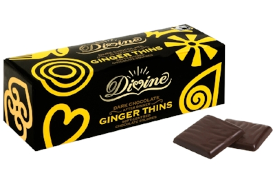 Divine Chocolate - Ginger Thins - These are quite grown up chocolates and not only because they are labelled as 'After Dinner Ginger Thins'. They are the ginger lovers answer to the After Eight and are rich without being too sweet. These are great to put out with coffee after, you guessed it, dinner, or to eat while thinking about what to have for dinner.