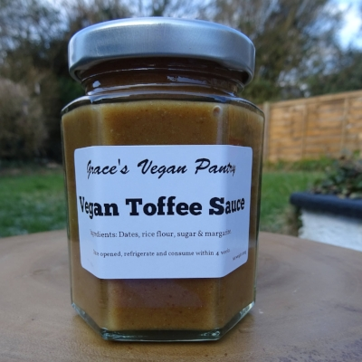 Grace's Vegan Pantry - Toffee Sauce - If toffee is more your thing than salted caramel then (you are dead to me) this toffee spread is probably the guilty indulgence for you. Thick and spreadable this is perfect for smearing all over things and then finding more things to put it on. With only four ingredients this toffee sauce is free from nasties which is reason enough to buy it and eat it ALL.£.50 a jar