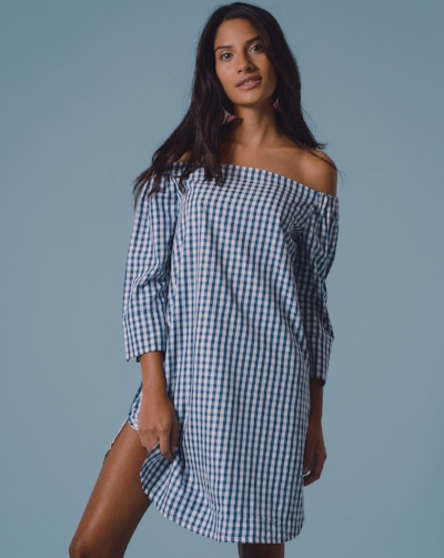 Mayamiko Allegra Bardot Dress  - An easy to wear, blue teal gingham Bardot dress perfect for a hot day. Ethically made in Malawi. £46.80