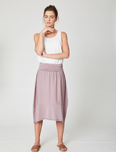 Thought Molly Striped Bamboo Jersey Skirt - Made of bamboo, organic cotton and spandex, this super comfortable skirt is perfect for warm days off and on holiday. £49.90