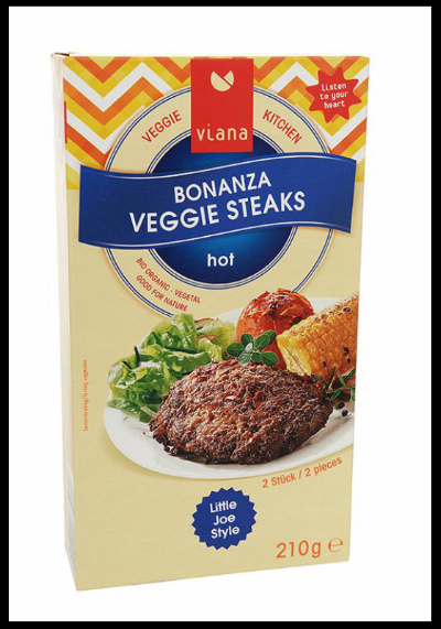 1 - Viana Bonanza Veggie Steaks - Hot - We need to start by saying that these steaks are not hot at all, they are however flavoured with red pepper, tomato paste and onion, which gives them a delicious spicy flavour. The texture is spot on, very meaty, tender and satisfying. It's extremely versatile and can be served with a side of chips or vegetables or in a sandwich. A vegan steak for those who miss meat. £3.75 for a pack of two.We like it because: delicious flavour, spot on texture and can be served in lots of different ways.