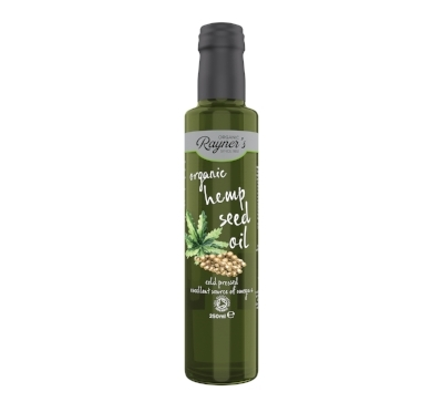 Rayner's Organic Hemp See Oil - Hemp is a fantastic plant that has a multitude of uses. Its seeds produce an oil that's packed with essential fatty acids, including omega 3 and 6 and alpha-linolenic acid. This oil is not only good for you but also delicious with its creamy, nutty taste. Beautiful on salads, raw vegetables and bread. £5.85