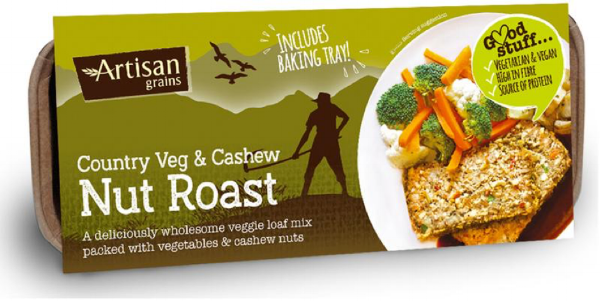 A Vegan Christmas Classic: Artisan Grains Nut Roast - There are so many good nut roasts on the market, if you don't have time, you really needn't make your own. This, with cashews and cranberry, is a perfect main course. Serve with vegetables and all the vegan trimmings. £2.99