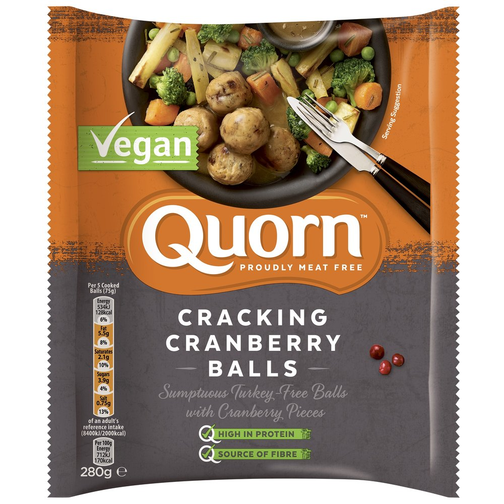 Starter or Side: Quorn Cracking Cranberry Balls - Just launched for Christmas, Quorn's Vegan Cracking Cranberry Balls are made with quorn, dried cranberry pieces, sage and black pepper and are perfect to serve as a nibble, starter or as a side with your main. £2.50