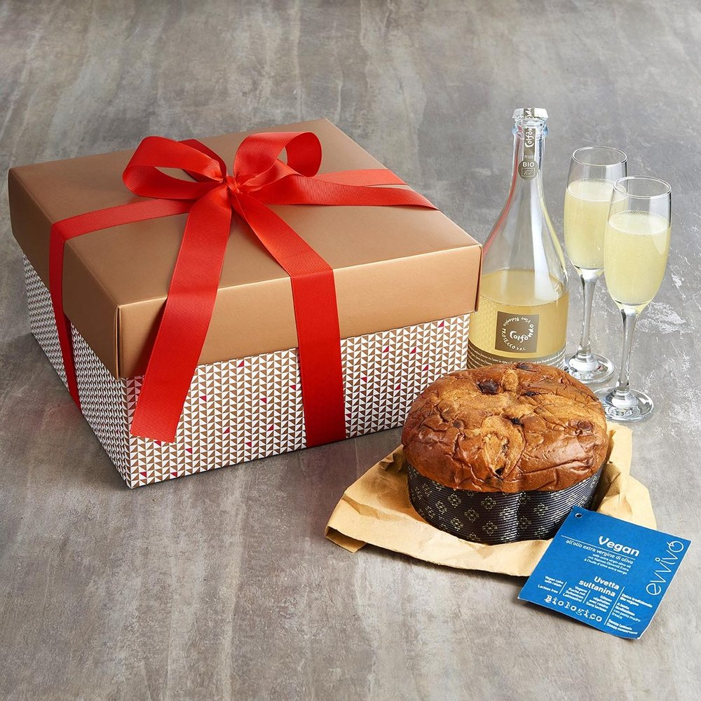 Buon Natale! Vorrei Panettone and Prosecco - Italian panettone is delicious and lighter than Christmas cake and pudding, so it's no wonder it's become so popular. Get this box which comes with a bottle of vegan Prosecco - perfect for toasting! £55