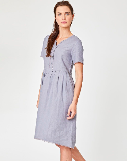 Jazmenia Lace & Button Detail Hemp Dress - Swap cotton for hemp. This pretty dress is made by 100% hemp, which is not only a sustainable fabric, but also beautifully soft and breathable.