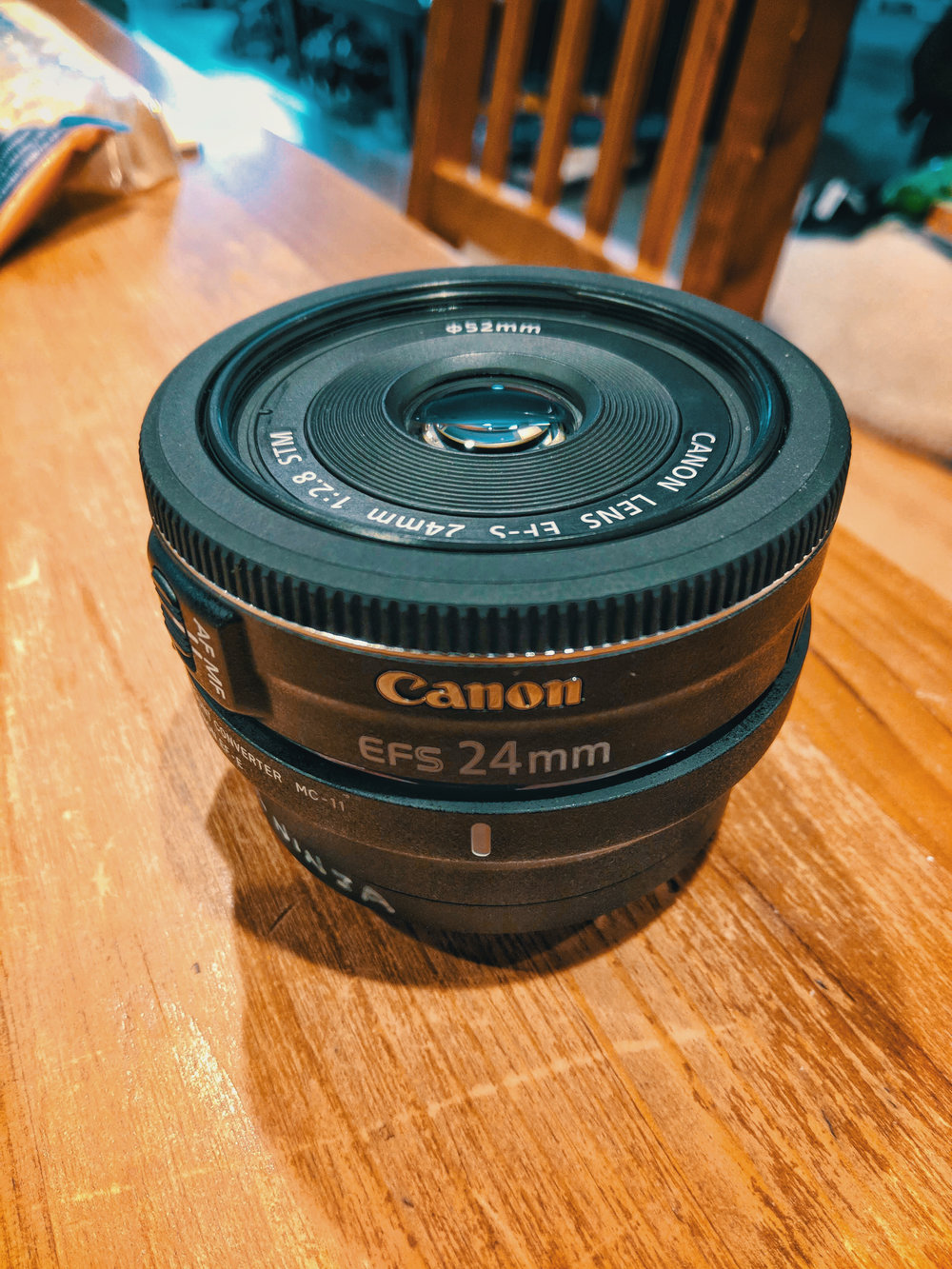 The Canon 24mm 2.8 Lens mounted on the Sigma MC-11 Adapter