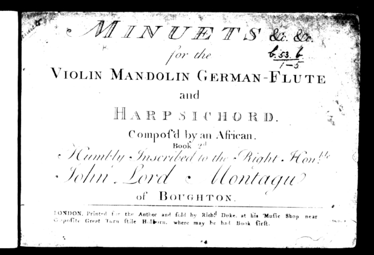 Title page from the first edition of dance music by Ignatius Sancho, an African, from the Montagu Music Collection, Boughton House