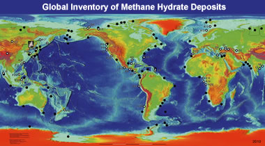 Methane hydrate map:  This map is a generalized version of locations in the USGS global inventory of natural gas hydrate occurrence database.  Credit: Keith A. Kvenvolden and Thomas D. Lorenson, Pacific Coastal & Marine Science Center, United States Geological Survey