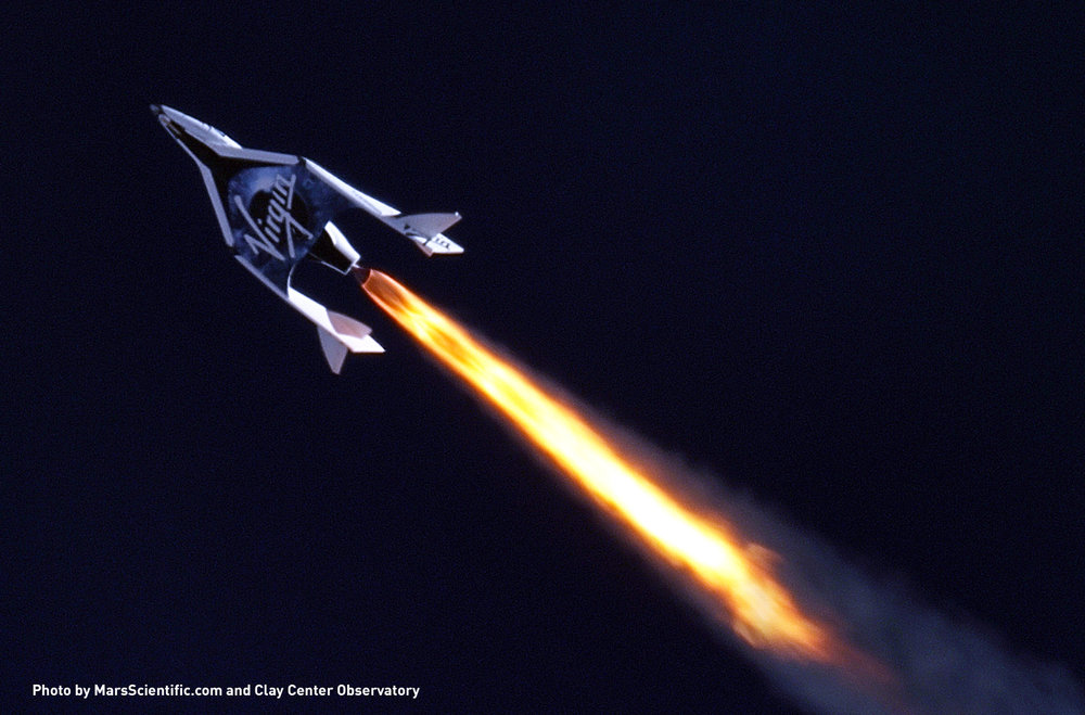Virgin Galactic's SpaceShipTwo.  Credit: MarsScientific.com & Clay Center Observatory