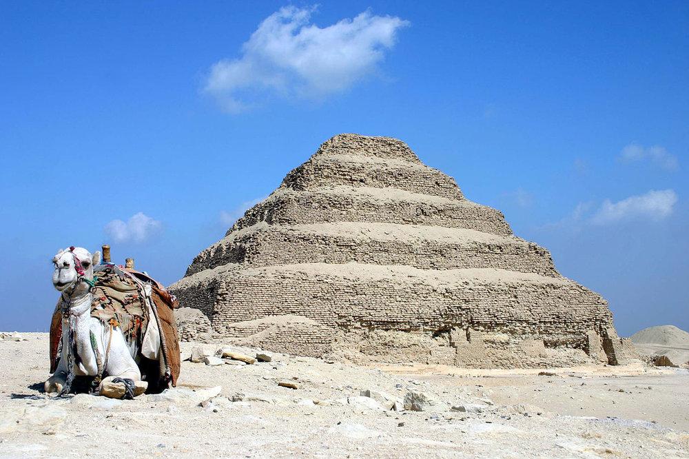 The Step Pyramid of Djoser at Saqqara. Basically a mastaba on top of a mastaba.