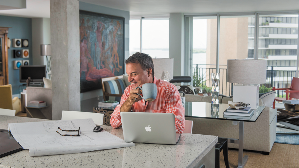 A local interior designer prepares to sell his Palm Bay condo. -