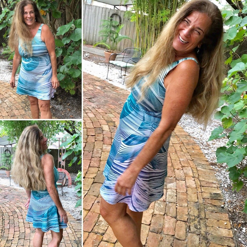 """""""I'm excited to be wearing amazing artwork for my presentation in South Africa. The name of the dress is Vortex...How perfect is that for creating a ripple?""""      - Karen Rudolf - Author of 5 Ways to Create a Ripple, wearing the Vortex flare dress"""
