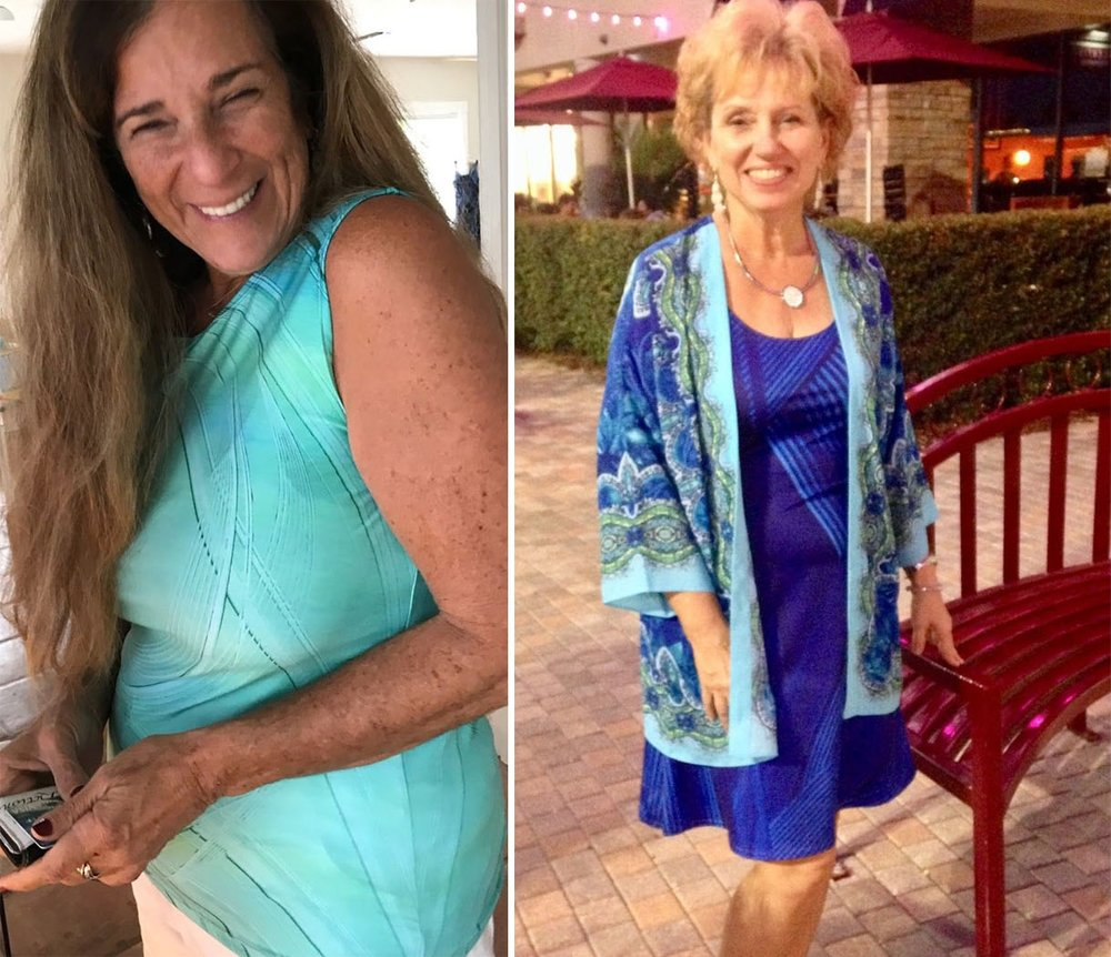- Karen wearing the Safety long loose tank top on the left and... Marti wearing the Gratitude Blue flare dress on the right: