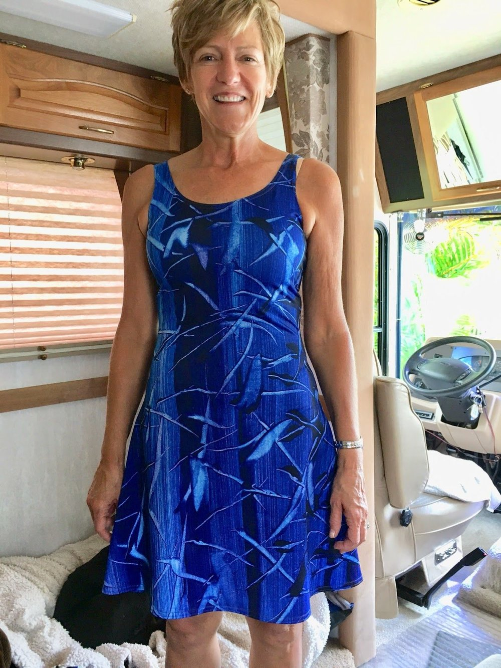 """I was gifted this beautiful dress for my new travels. Perfect!"" -      -   Flight flare dress ready for RV travel"
