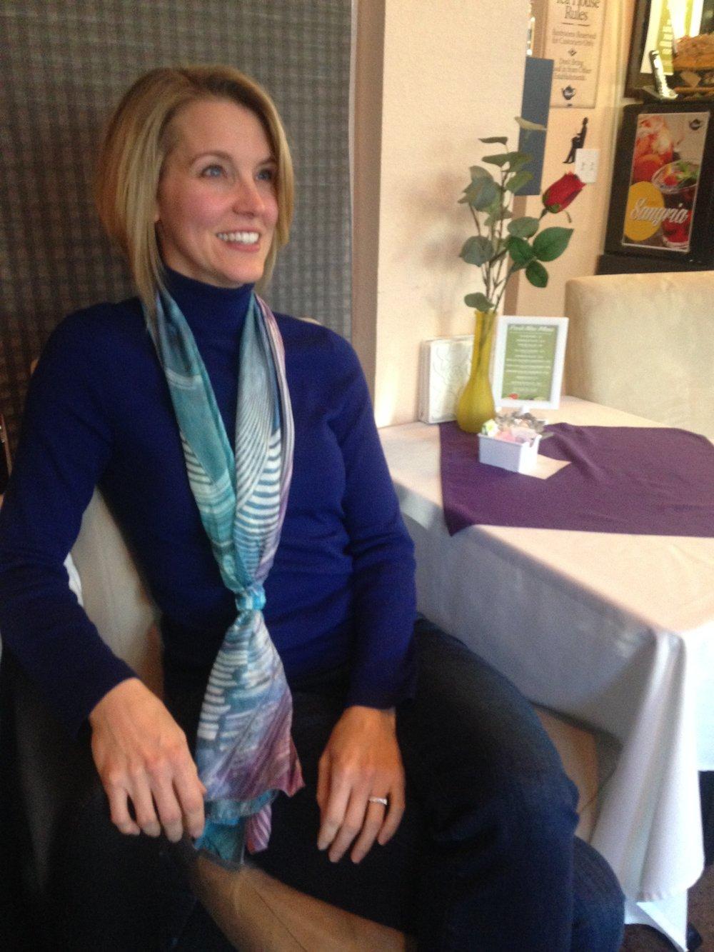 - Roxanne wearing the Vortex scarf