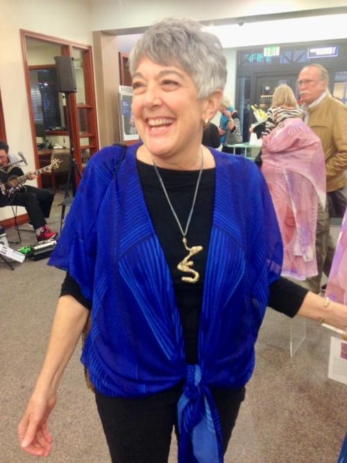 - - Deb enjoying the Gratitude Blue draped kimono