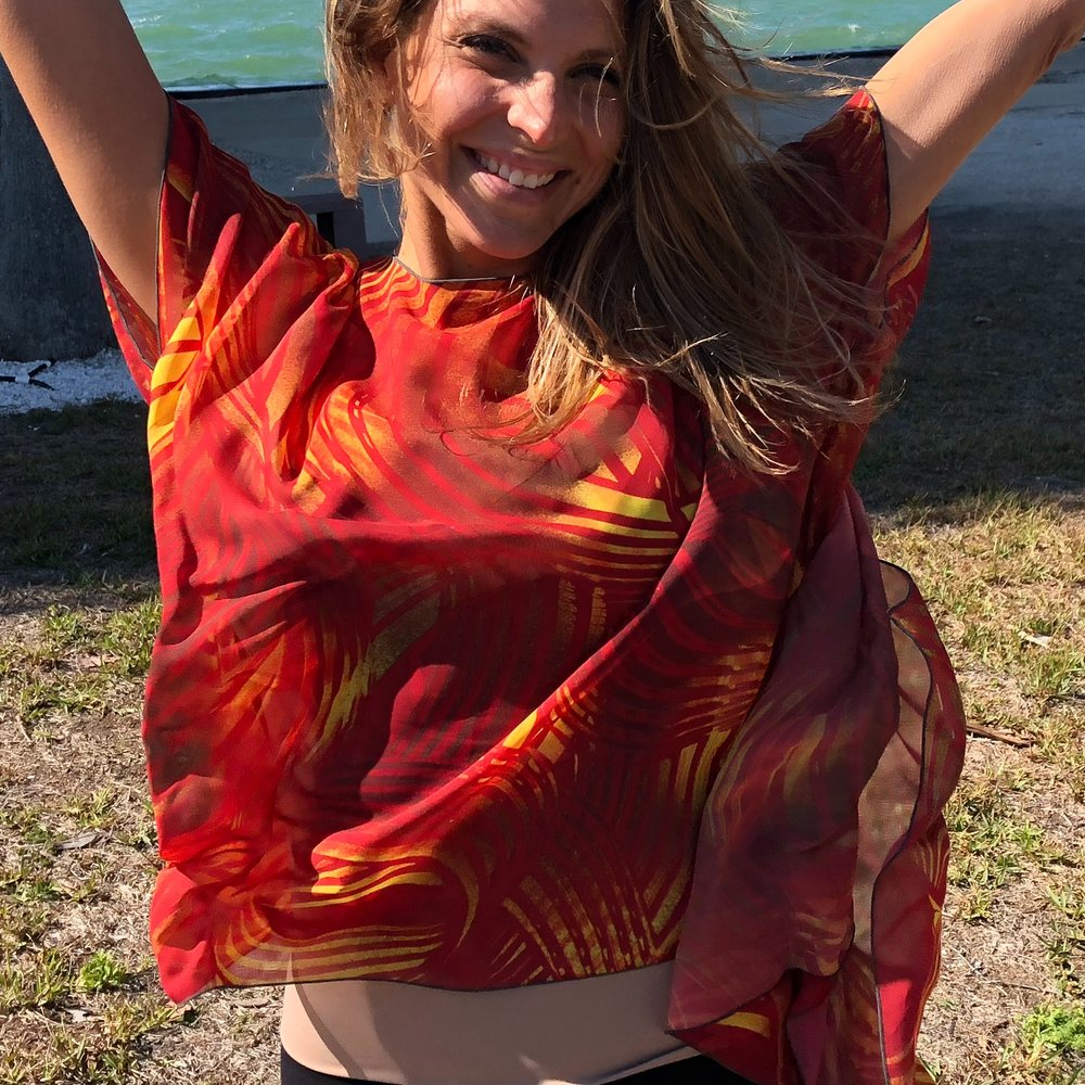 Elevate - All of my Draped Kimonos are direct translations from my paintings. All are named with an Uplifting Title and an accompanying Inspiring Story. It truly is Clothing to Elevate Your Spirit! XOLisa L   https://www.lisaldesigns.com