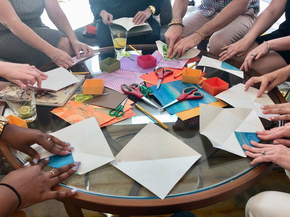 Ovation Origami - January 10th & 24th; 4- 5pm at Art Ovation Hotel https://artovationhotel.comJOIN ME! Colorful Free fun! Treat yourself to creating an origami box using textured papers from my original paintings. Step-by-step instructions will take you through the process. Get creative and add some bling to embellish your origami box. All ages are welcome to join me in this brand new spacious artsy hotel lobby.XO Lisa L.