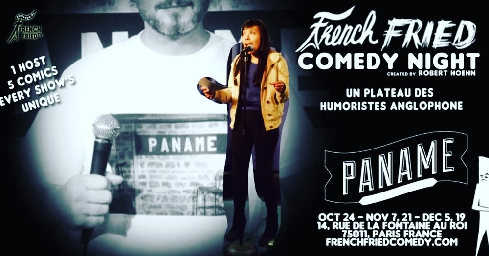"Hey y'all! I'm gonna perform in Paris!! with comedian/host  Ro Bear !  4/3 Tuesday 9pm woohoo🎉 ! Please fly over if you can 🙆‍♀️😁👌✈️🤹‍♂️🍾 Thanks- For Tickets:  http://www.panameartcafe.com/…/le-paname-french-fried-come…/  ""French Fried Comedy Night c'est du Stand-up comedy en Anglais."""