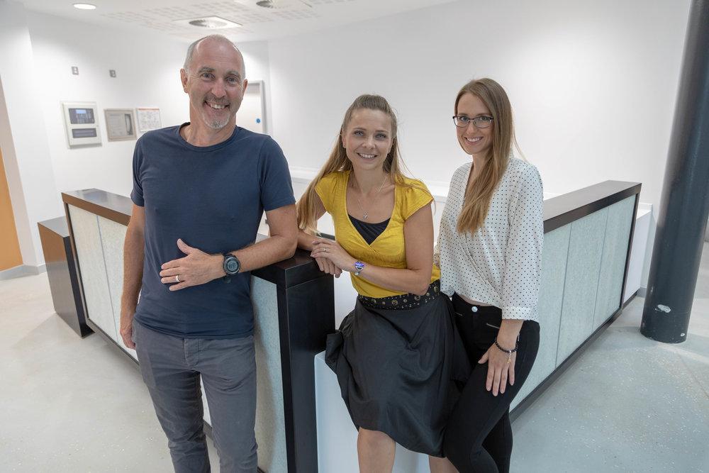 From left: Ian Standen, Dr Tyra Oseng-Rees, Jana Kleprlikova