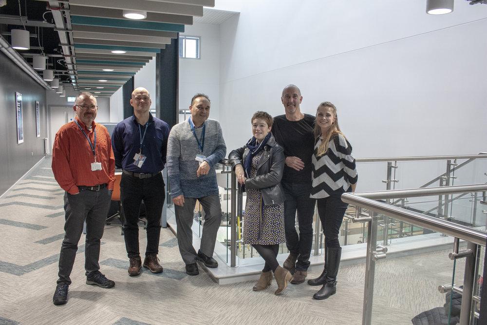 From left: Dr Juan Ferriz-Papi, Dr Greg Owen, Allan Nantel, Lara Hopkinson, Ian Standen, and Dr Tyra Oseng-Rees