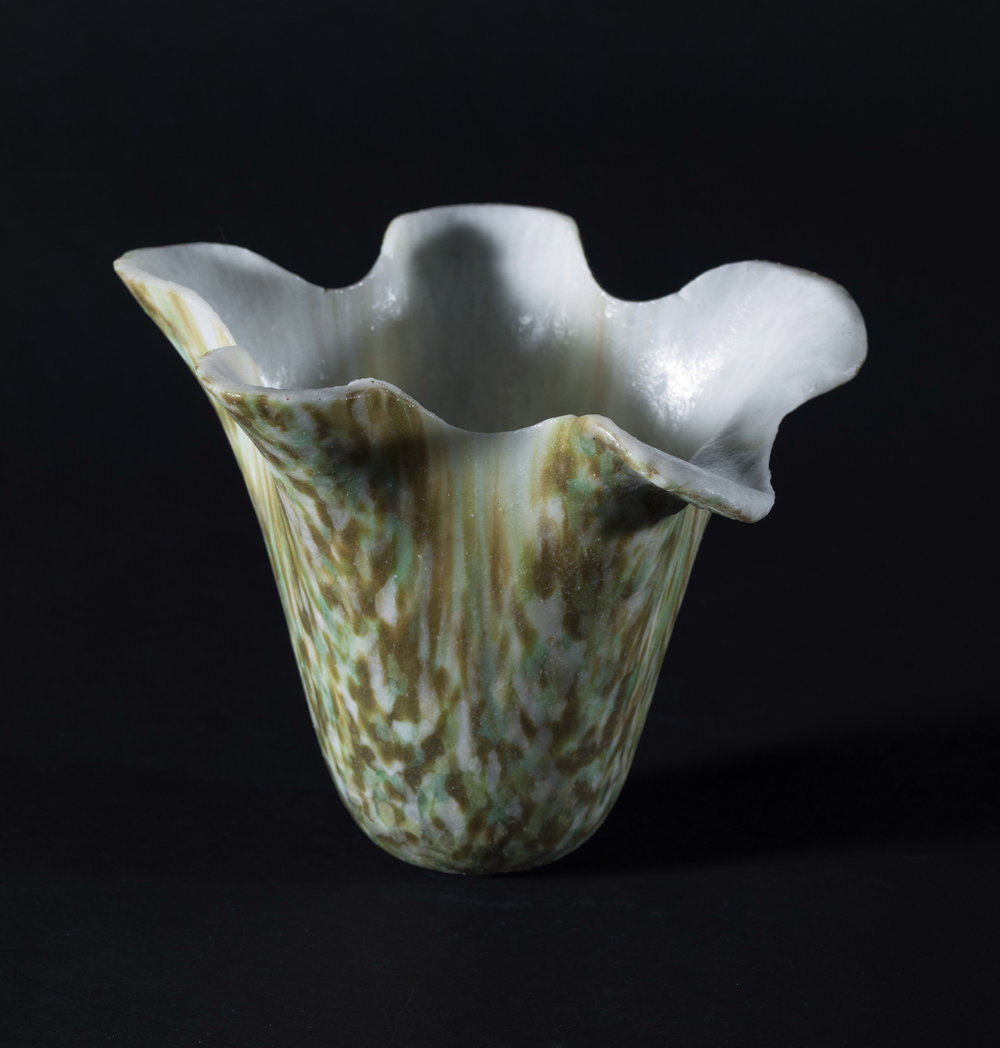 Fused and slumped vase in white green and amber