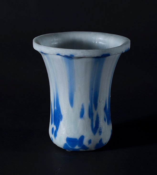 Slumped vase white and blue