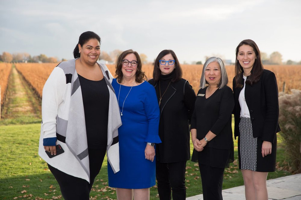 L-R: Céline Peterson, Kelly Peterson, Renee Rosnes, Christine Mori and Alexis Spieldenner at Stratus Vineyards in Niagara-on-the-Lake, Ontario. Photo by Alex Heidbuechel.