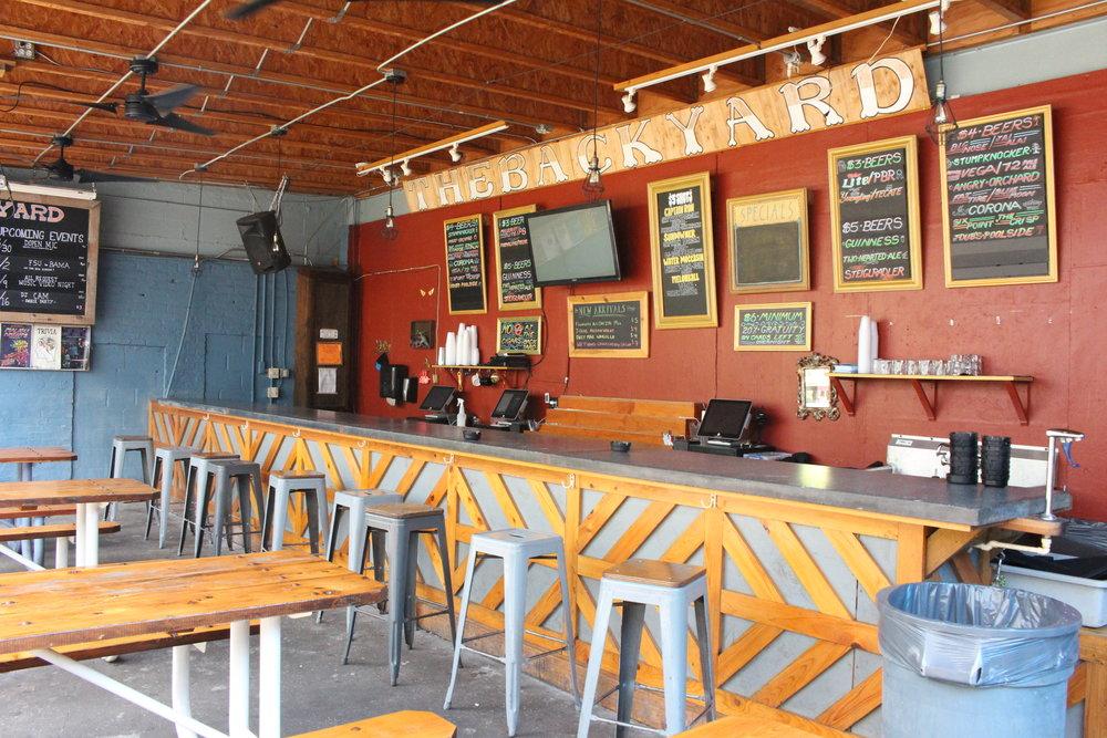 Backyard Bar and sitting area