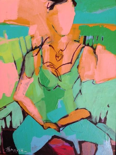 """Esmeralda In Green Room""  Acrylic on Canvas  14"" x 11"""