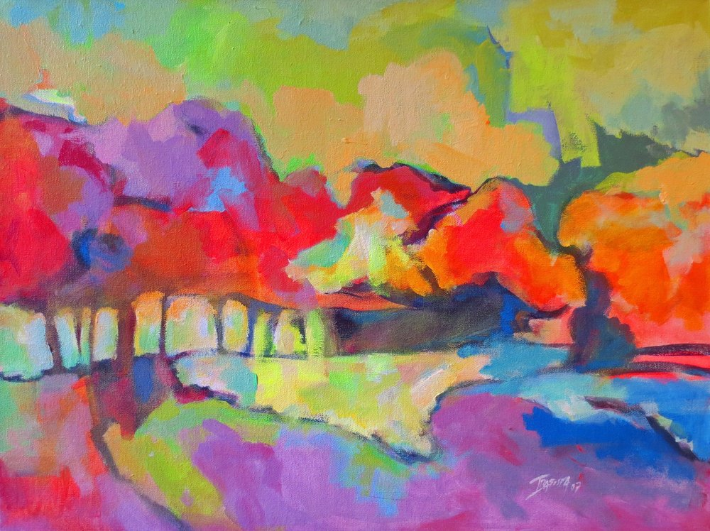 """The Bright Colors of September""  Acrylic on Canvas  18"" x 24"""